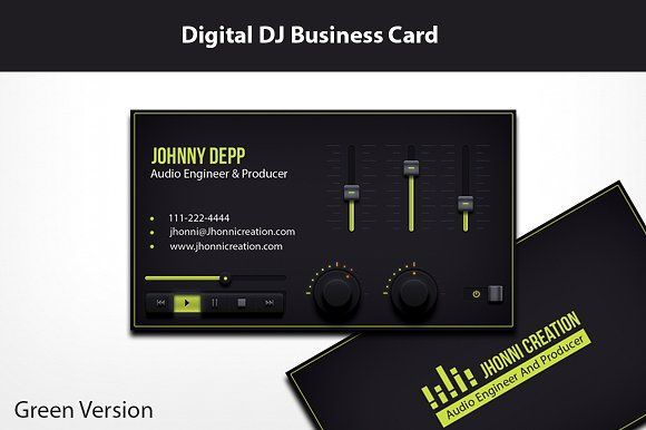 Music Producer And Dj Business Card Dj Business Cards Music Business Cards Business Card Template Design