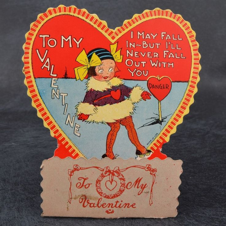 Vintage Art DECO Heart VALENTINE Card KEWPIE Doll GIRL Fur Coat HONEYCOMB 3D