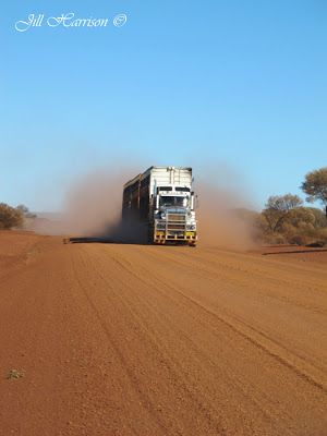 Road train outback Australia. The dust generated by these trains can make visibility almost nothing. When passing a road train many of the driver's signal when it is safe to pass by waving you on..I have over the years put in quite a few km on gravel roads in Western Australia and I never experienced a driver who did not extend that lovely courtesy to other drivers. Thank you. Outback Australia is so different. Great picture from Jill Harrison's blog.