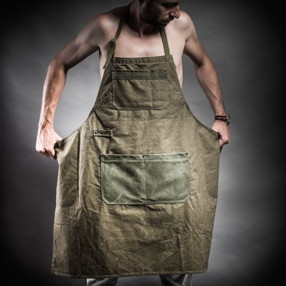 Tenting canvas apron with canvas pockets and Soviet by KrukGarage