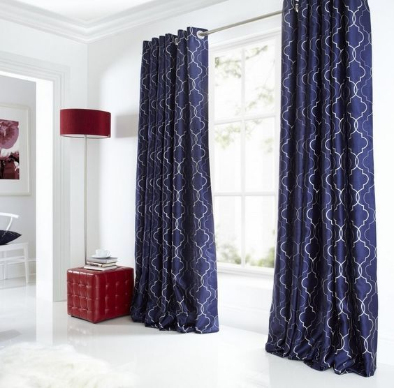 Image result for midnight blue brocade curtain bed