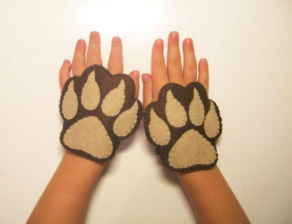 Llevar los puños fieltro 2 PC  marrón disfraces de animales