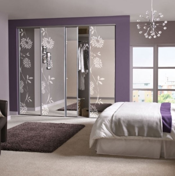 Purple And Silver Flower Bedroom