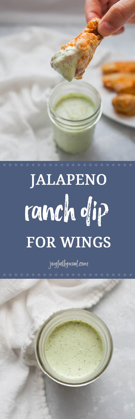 Football season is here! That means it's time for the best football food around. This jalapeño ranch dip is the perfect dip for your homemade or store bought wings. Be warned though, this dip will go fast!