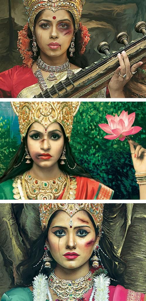 "India's Incredibly Powerful ""Abused Goddesses"" Campaign Condemns Domestic Violence."