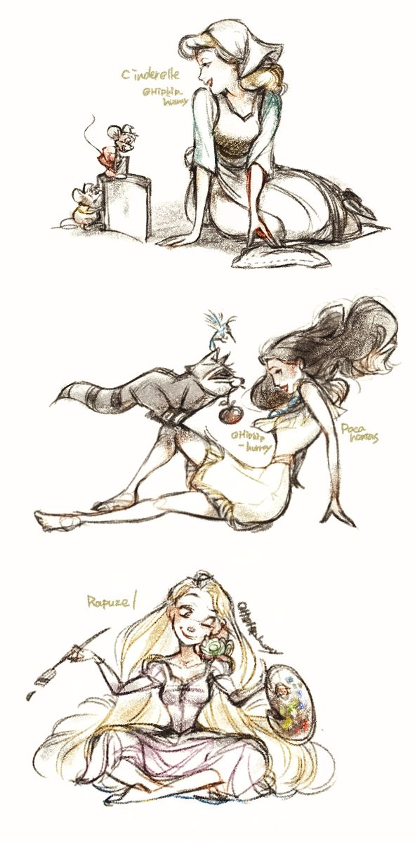 Disney princesses and their animals :3