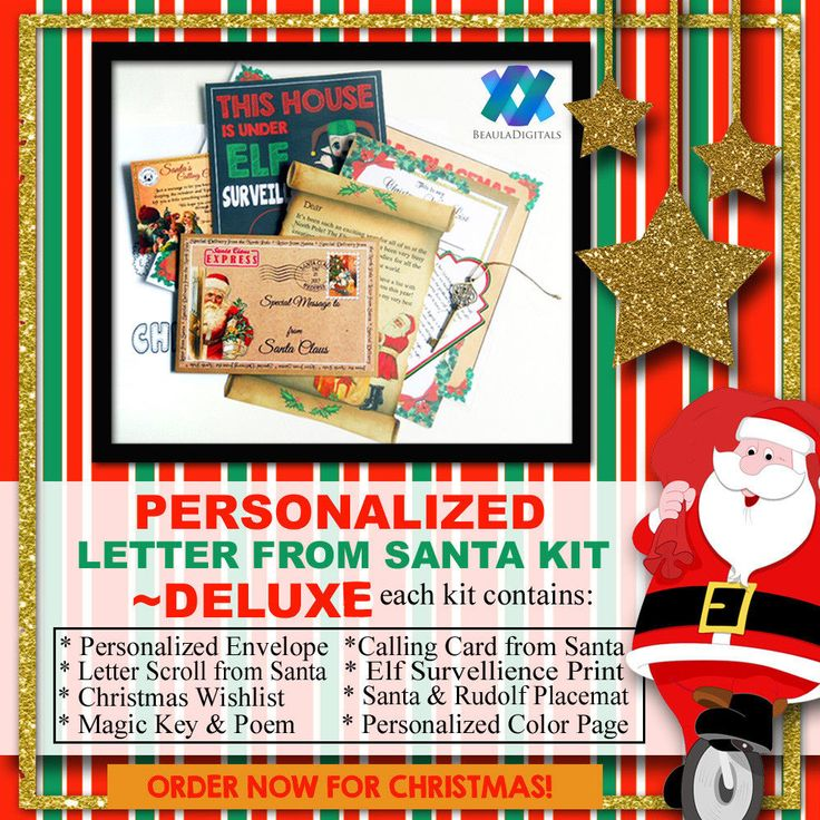 Personalized Letter From Santa Kit - Deluxe - Scroll, Key,Wishlist and much more