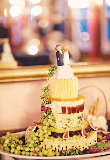 Cool concept for a wedding cake~ I love my sugar too much to opt for this-but I love the idea of a Cheese and Fruit Cake for a wedding cake!!