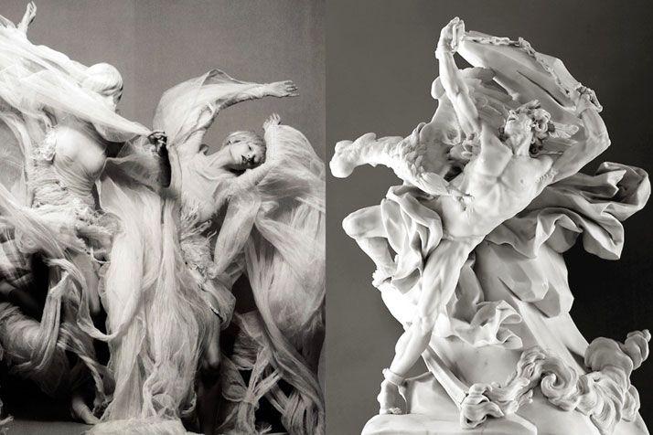 "Elena Sudakova in ""Invitation à la Danse"" by Sølve Sundsbø for Numéro Magazine #91 March 2008 | Prometheus Bound by Nicolas-Sébastien Adam, white marble, 1762"