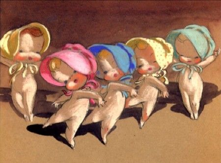 """Baby Ballet"", concept art by Sylvia Moberly-Holland and Mary Blair."