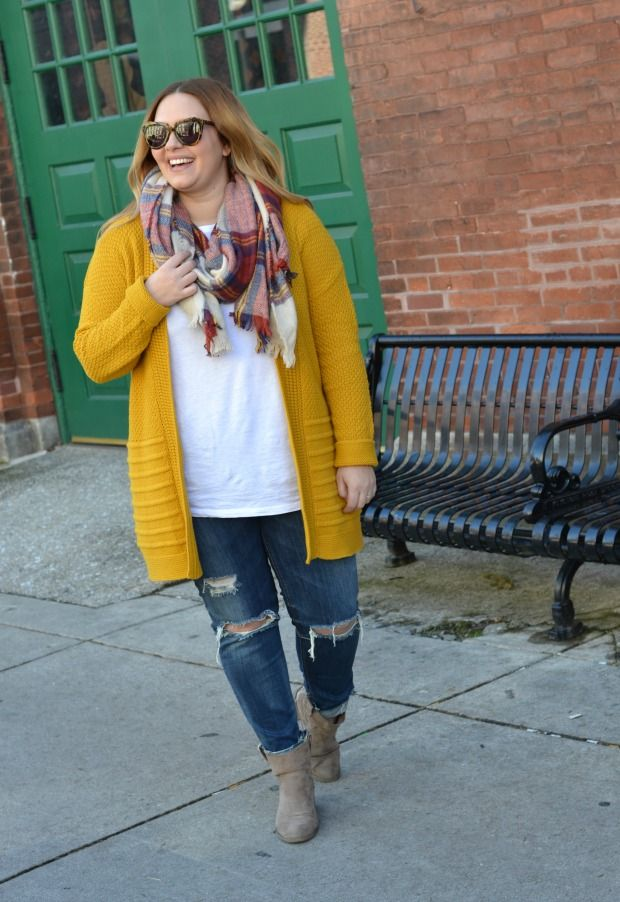 Cute outfit idea for my mustard cardigan and blanket scarf!