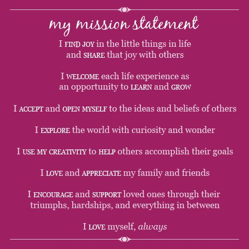 sample personal mission statements for students