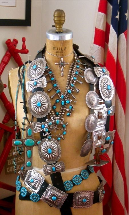 What a fabulous collection of turquoise accessories!  - trading post display