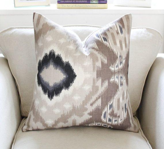 "20"" Schumacher Kiribati Ikat Pillow Cover in Linen"