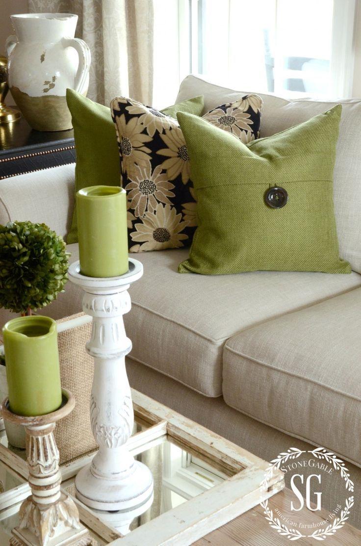 Paredes con color y accesorios neutrales - Accesorios Decorativos En Verde Para Tu Sal N Sala Hola Chicas En Esta