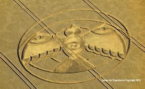 "Crop Circle: A ""pomba da paz"" impressa em Hampton Lucy, Warwickshire (Reino Unido)"