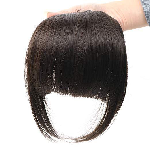 Amazon.com : HUA MIAN LI Bob Flat Hair Bangs Heat Resistant Synthetic Hair Clip-in Bangs Black Straight Bangs With Fringe One Piece Clip Aoert : Beaut...
