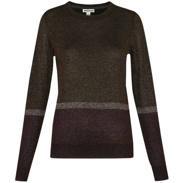 Whistles Colour Block Sparkle Jumper, Multi (4.390 RUB) ❤ liked on Polyvore featuring tops, sweaters, sparkle sweater, print sweater, metallic sweaters, color block sweater and long sleeve tops