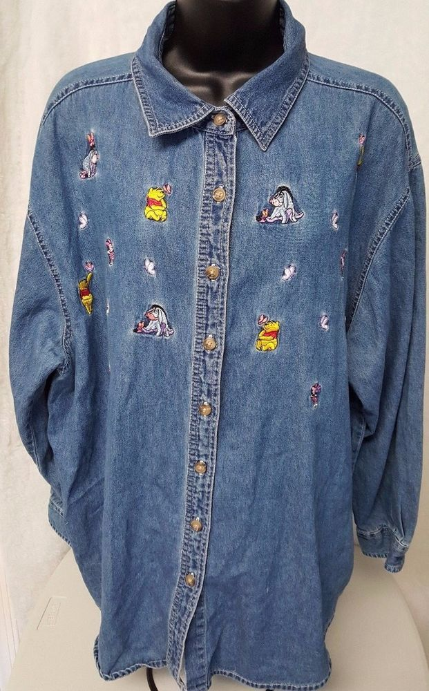 Pooh Woman's Multi Color Pooh/Eeyore/Piglet Jean Button Down Shirt Size XL 18/20 #Pooh #ButtonDownShirt #Casual