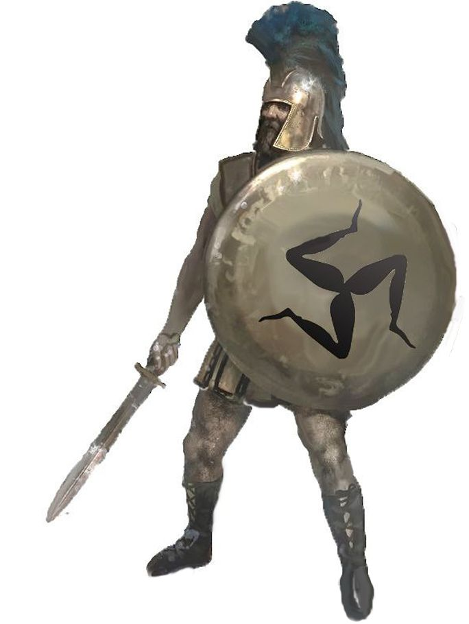 "hoplite figure with a  Greek ""τρισκέλιον"" (triskelion) or ""τρισκελής"" (triskeles), ""three-legged"" symbol on his shield"
