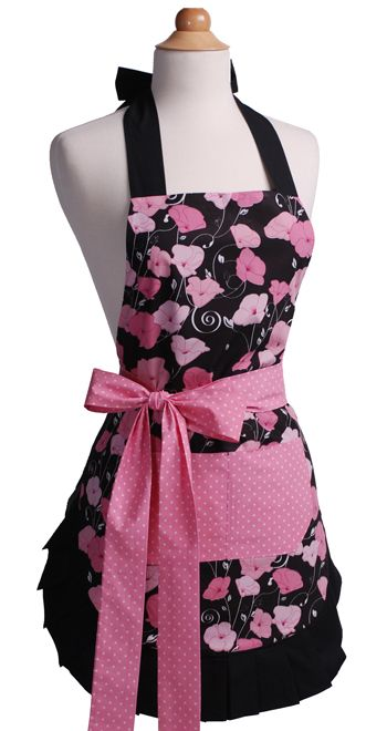 Cute Vintage Apron, 1950's Retro Apron in Midnight Bloom $34.95