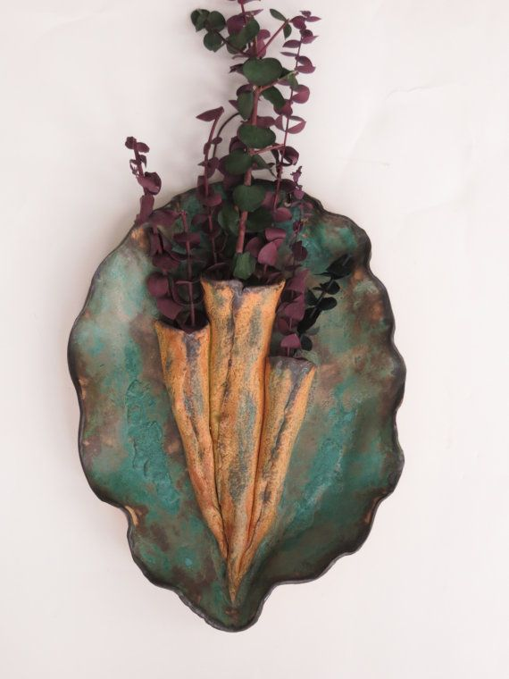 ceramic wall pockets | Earthy Three Chamber Ceramic Wall Pocket Verdigris Rustic Wall Vessel ...