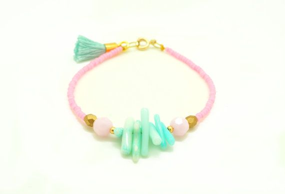 Pastel Pink and Seafoam Swarovski Beaded Tassel Bracelet. Found on etsy. It's gorgeous but maybe without the rocks?