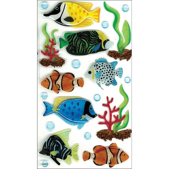 Jolee's Boutique Dimensional Stickers-Large Tropical Fish - large tropical fish