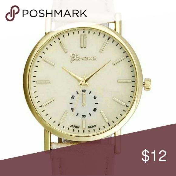 Beige Large face watch with beige faux leather Beige large face watch with beige faux leather band Accessories Watches