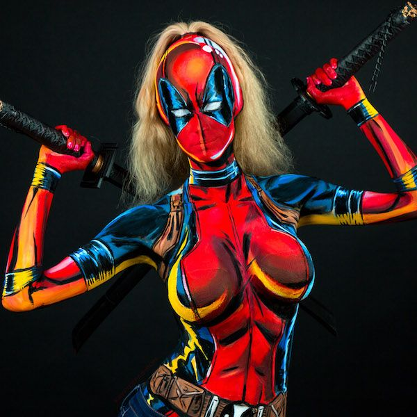 Lady Deadpool bodypaint cosplay by Kay Pike.  Bodypaint applied soley by the cosplayer.