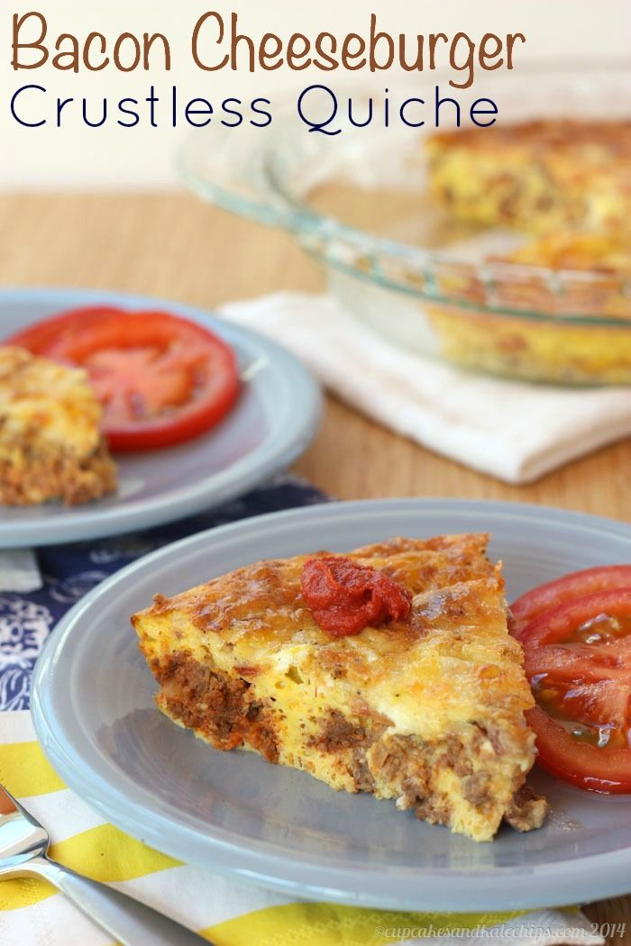 Bacon Cheeseburger Crustless Quiche Shared on https://www.facebook.com/LowCarbZen | #LowCarb #Bacon #Lunch #Dinner #Quiche
