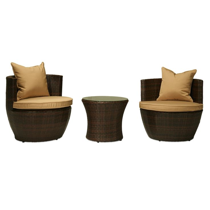 Carabelle AMZ5533DBBG 3 Piece Wicker Patio Conversation Set with Cushions, Dark Brown with Beige. Wicker color: dark brown cushion: Beige. Powder coated aluminum frame is durable and rust resistant. All weather Chair cushion covers repel water and moisture. 100% foam filled polyester cushion weather proof fabric. UV protection added to wicker to prevent fading.