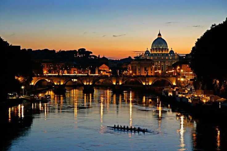 P. KENT FAIRBANKS ARCHITECT / PHOTOGRAPHER - ITALY -view of rowers and St. Peter's Basilica across the Tiber River in Rome