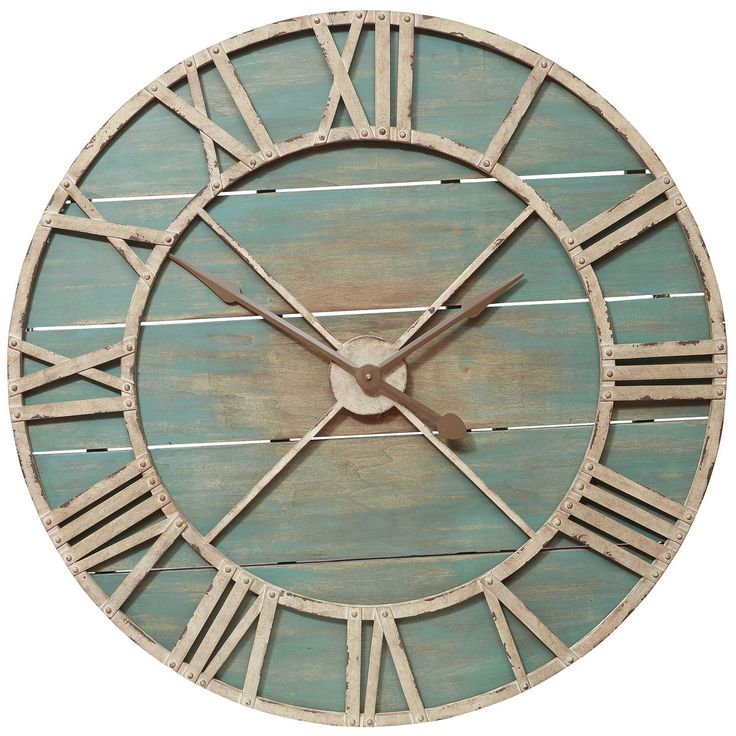 Oversize Rustic Wall Clock - Teal | Pier 1 Imports