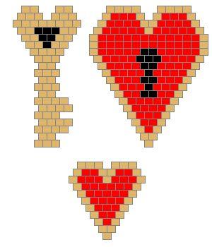 Heart Lock and Key Brick Stitch Earrings - Beadwork