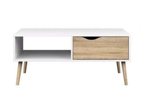 Napoli sofabord med 1 skuff og 1 hylle hvit/eik.