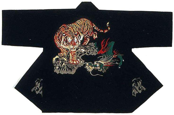 HAPPI Japanese Festival Coat Tiger vs Dragon Black Room wear Kimono JAPAN NewF/S | eBay