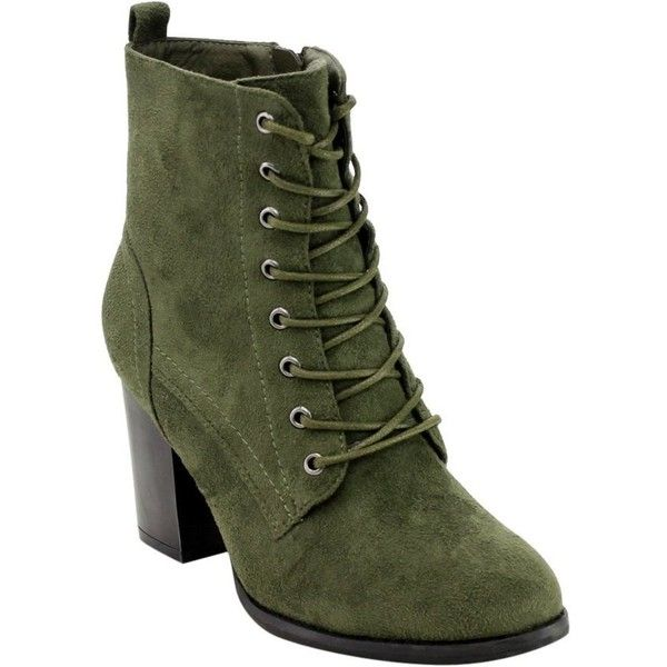 Beston GF08 Women's Lace Up Side Zip Block High Heel Combat Ankle... (£19) ❤ liked on Polyvore featuring shoes, boots, ankle booties, high heel boots, ankle boots, combat boots, lace up booties and wide width ankle boots
