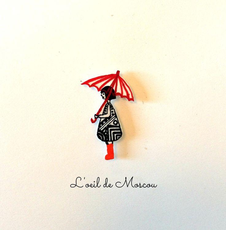 pin's plastique fou dame au parapluie : Autres bijoux par l-oeil-de-moscou