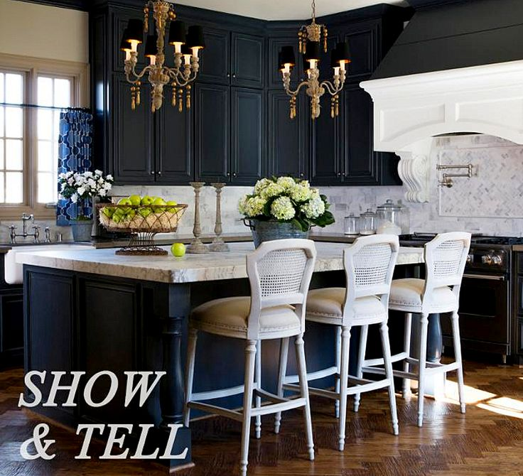 Aidan Gray Home   Kitchens   Dark Blue Cabinets, Dark Blue Kitchen  Cabinets, White Marble Countertops, Island With Legs, Island With Turned .