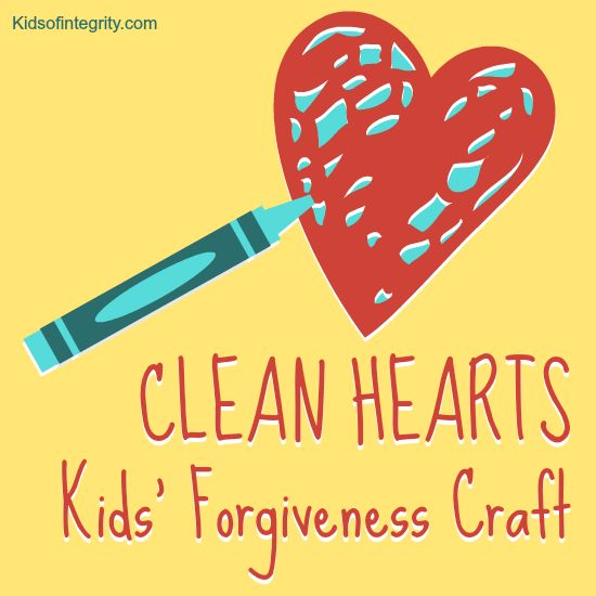"Clean Hearts craft for kids to learn forgiveness. Super! Colour hearts cut from cotton fabric with washable markers, then wash out the ""stains"" with a bleach solution."