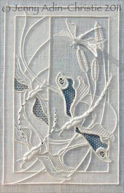 Dragonfly whitework by Jenny Adin-Christie