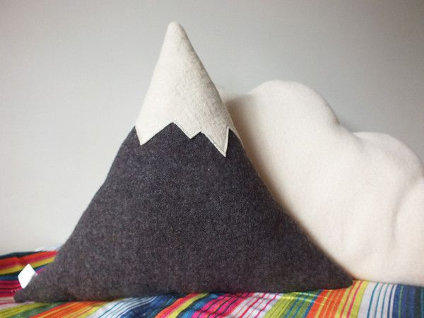 Dark Grey vintage woolen blanket mountain cushion with snowed peak