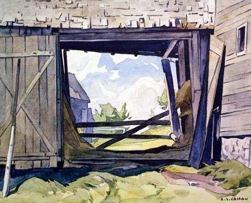 CASSON, A.J. - Canadian artist (1898-1992): -- 'Barn at Baptiste'.