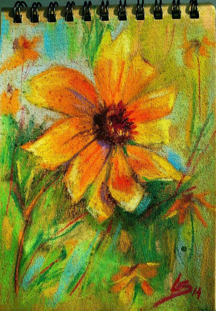 """A little Sun"" Original pastel painting by Liudmila Suhorucova (10x14cm)"