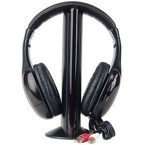 MH2001 5-in-1 Wireless Headphones w/Microphone Emitter & FM Radio - Listen to Music Chat Online & Monitor Other Rooms!