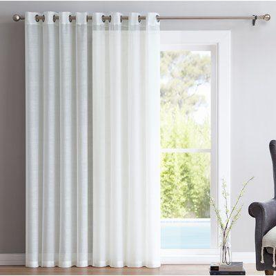 Zipcode Design Lenwood Patio Door Solid Sheer Grommet Single Curtain Panel Size Per Panel 100 W X 84 Door Coverings Patio Door Curtains Patio Door Coverings