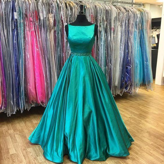 2017 Popular Green Prom Dress,Sleeveless Beaded Evening Dress,Floor Length Party Dress