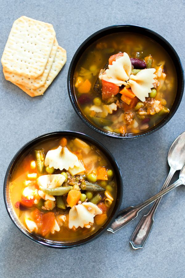 Minestrone soup: thick, warm, comforting and overflowing with vegetables. Best for wintery days when you can't wait for the summer to arrive.