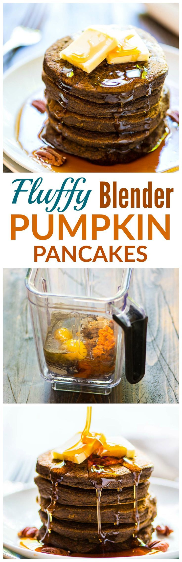 The FLUFFIEST Pumpkin Pancakes, made in the blender! NO CLEAN UP. Easy and healthy recipe your kids will love. {gluten free, naturally sweetened}  @wellplated